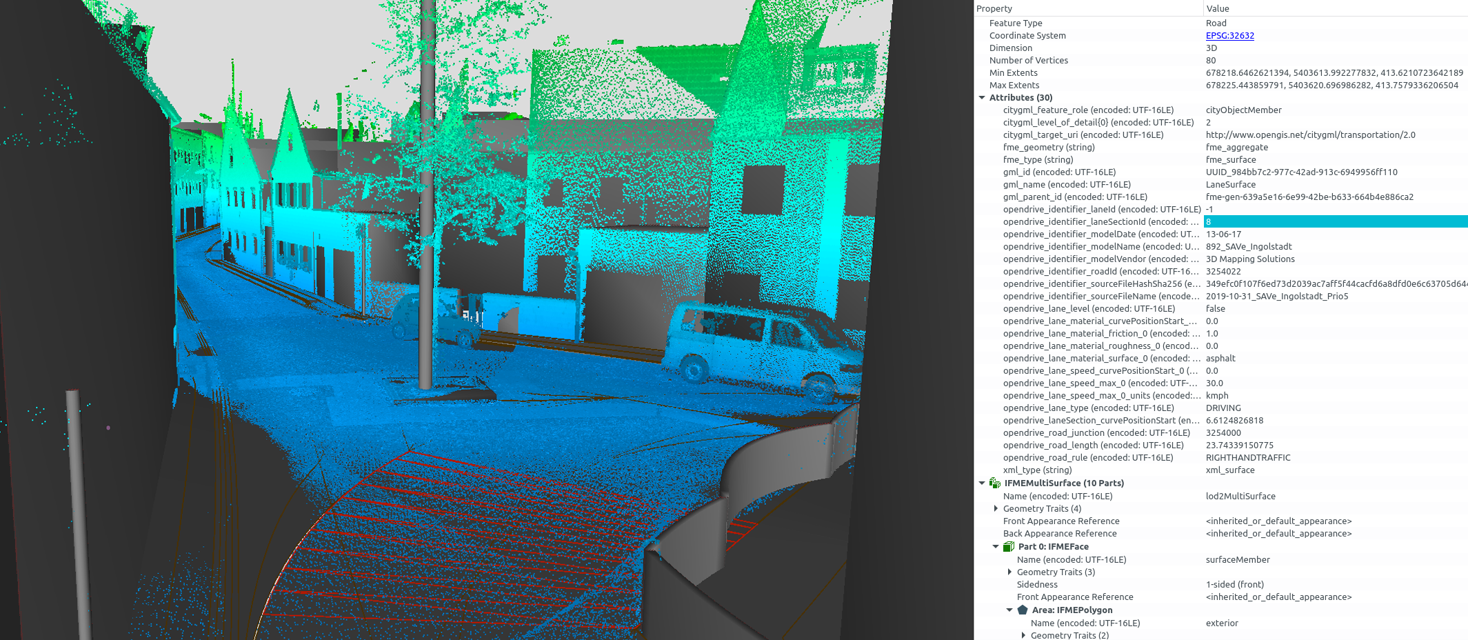 OpenDRIVE point cloud inspection